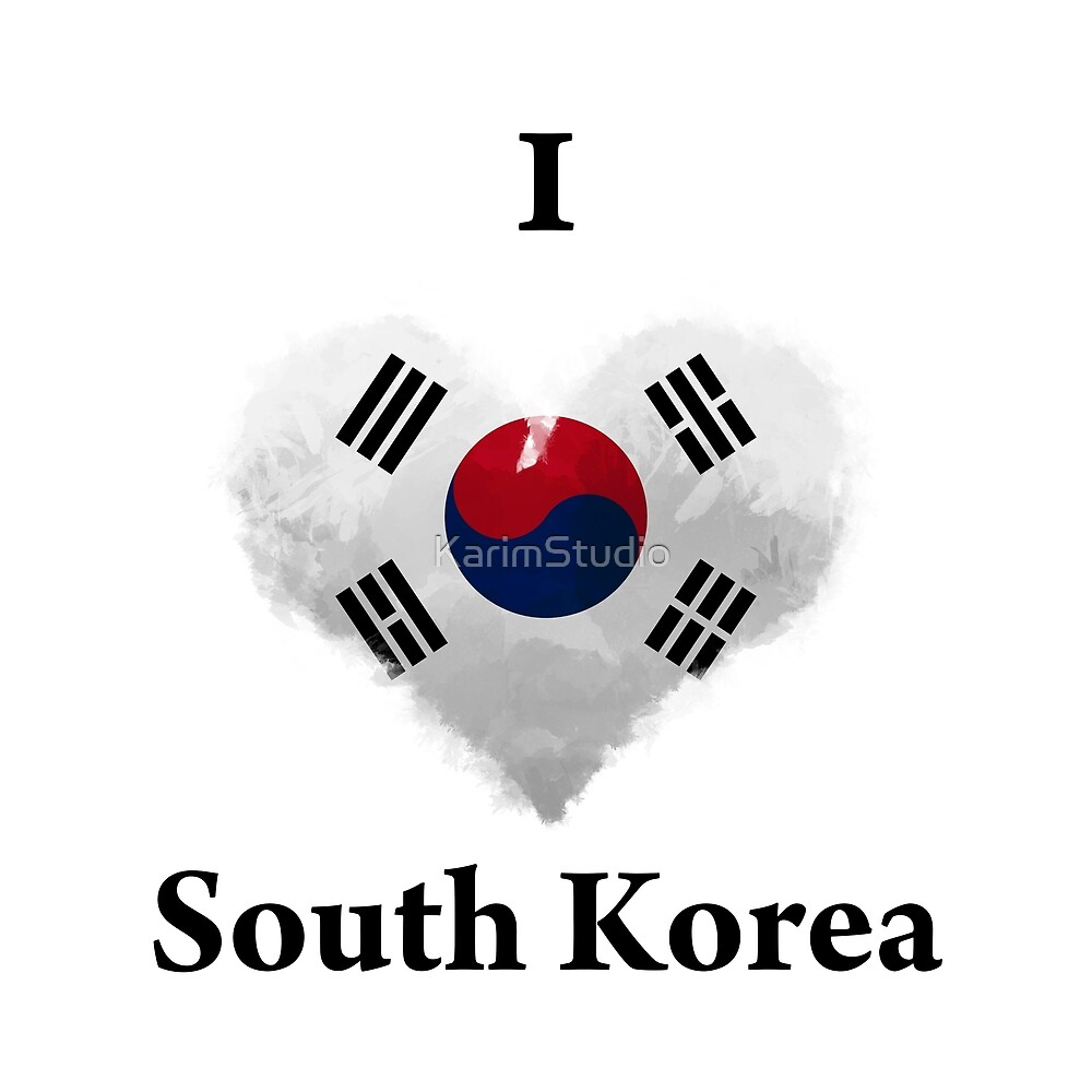 I Love South Korea Digital Art by KarimStudio