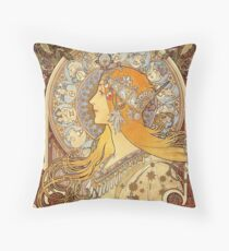 Alphonse Mucha Zodiac Art Nouveau Woman Throw Pillow