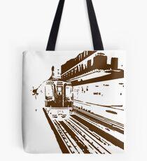 Brown Line Train-ing Stencil  Tote Bag