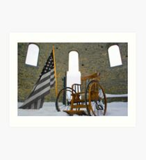 B&W flag cripples Art Print