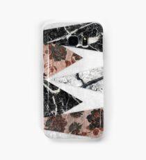 Modern Chic Black White Marble and Rose Gold Geo Samsung Galaxy Case/Skin