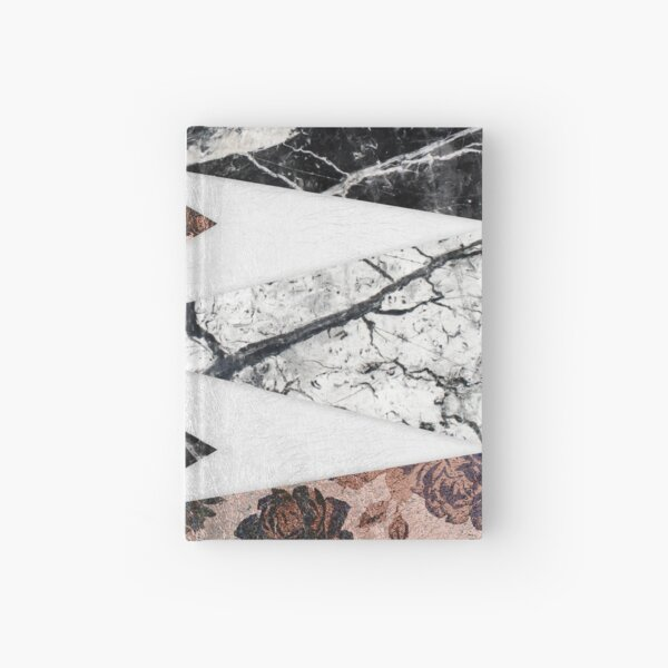 Modern Chic Black White Marble and Rose Gold Geo Hardcover Journal