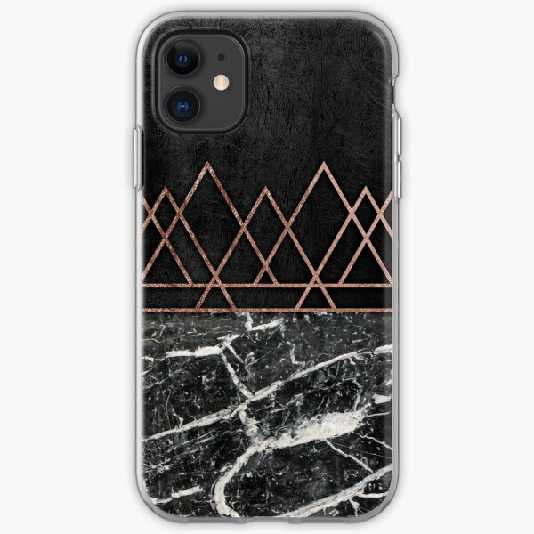 Elegant Rose Gold Triangles & Black & White Marble iPhone Soft Case