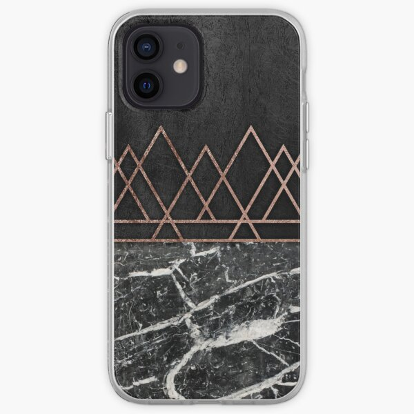 Elegant Rose Gold Triangles & Black & White Marble iPhone Soft Case