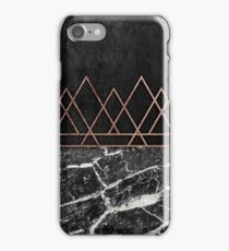 Elegant Rose Gold Triangles & Black & White Marble iPhone Case/Skin