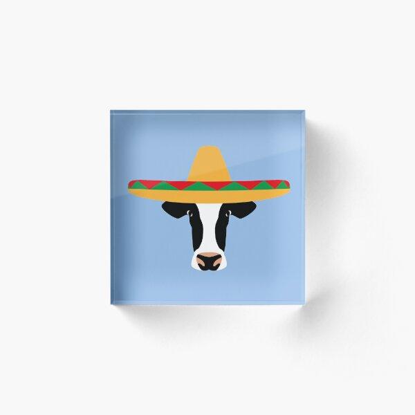 NDVH Cow Wearing a Sombrero Acrylic Block
