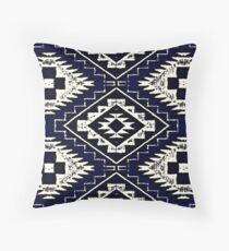 Vintage Blue Patched Throw Pillow