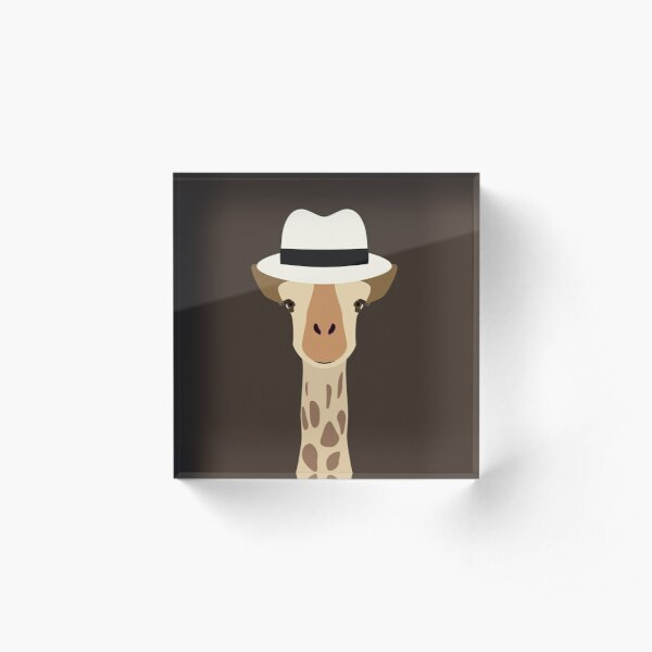 NDVH Giraffe Wearing a Fedora Acrylic Block