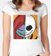 """The Face of Love"" - NMBC, Nightmare Before Christmas, Couple, Cute, Jack, Sally, Finkelstein, Skellingon, King, Queen, Pumpkin, Love, Couple, Romantic, Romance, Split, Face, Off, Just the Two of Us Women's Fitted Scoop T-Shirt"