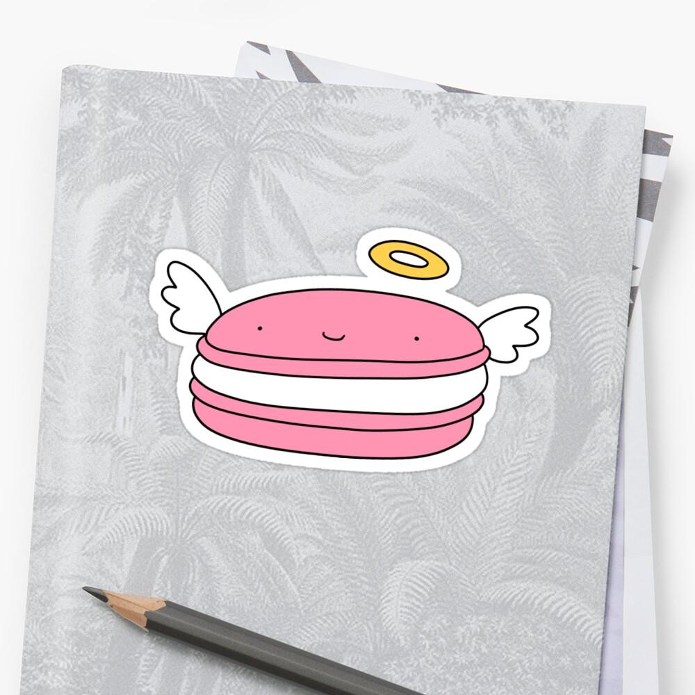 Pink Macaroon Angel Sticker Front