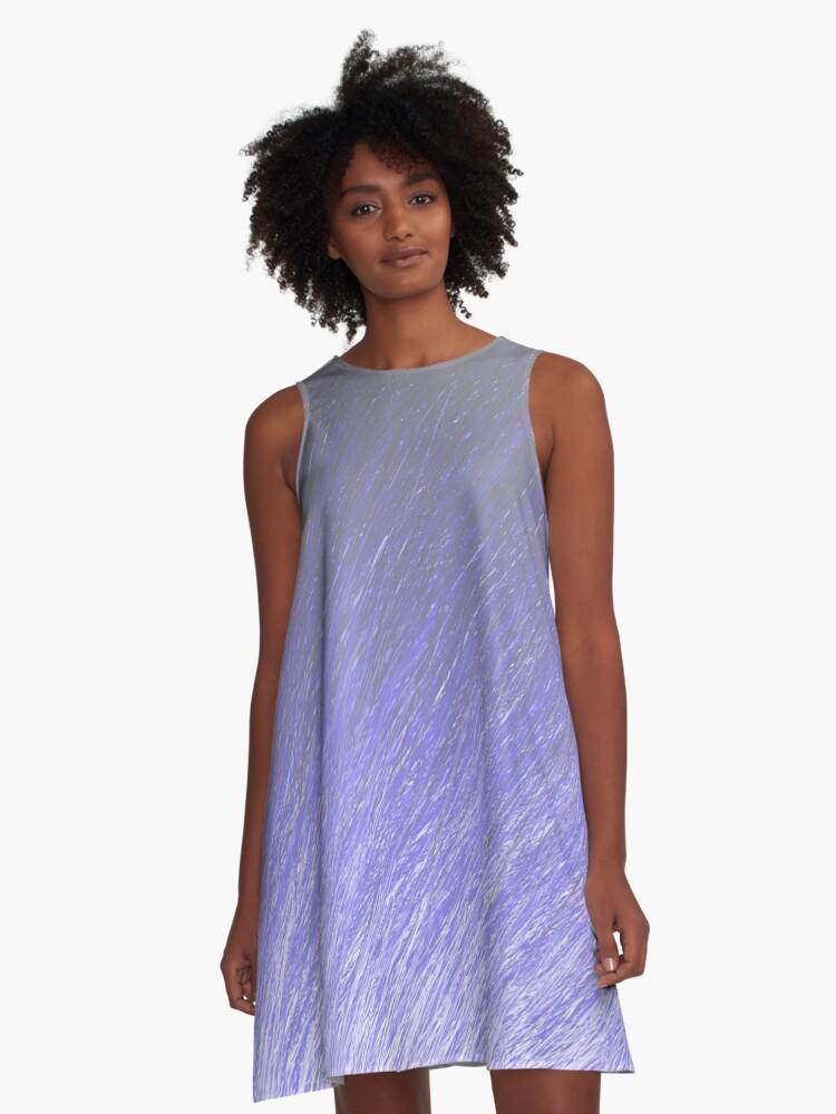 Drifting Blues through Pastel A-Line Dress Front