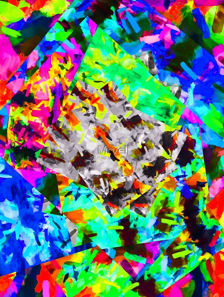 psychedelic splash painting abstract in blue green orange pink brown by Mrvell