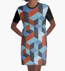 Funky Geometric Texured Graphic T-Shirt Dress
