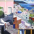Santorini Painting with Painting by photobylorne