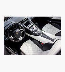 Lamborghini Aventador Cockpit with Q-Citura Diamond Stitching Photographic Print