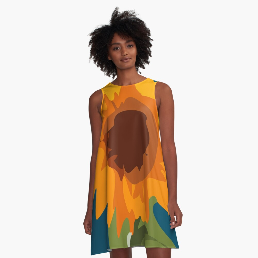 Kids Painitng SunFlower A-Line Dress Front