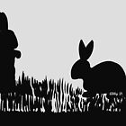 Rabbits in the Meadow Silhouette by Abigail Davidson