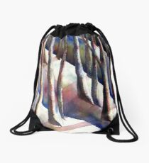 Wintery Cool Forest Drawstring Bag