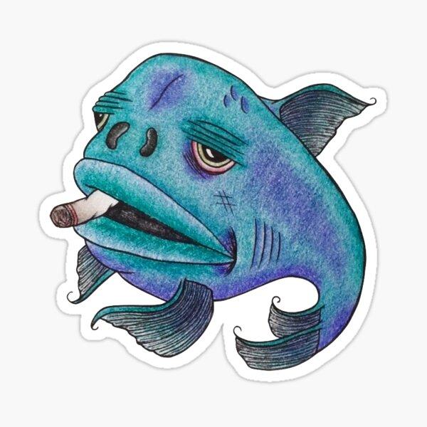 Bad Fish Smoking Joint Sticker