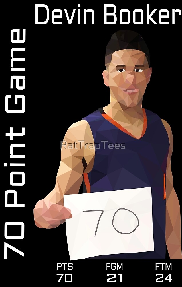 Devin Booker 70 Points Statline Black by RatTrapTees