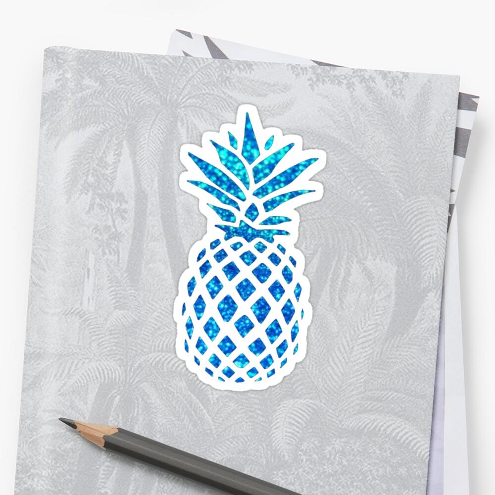 Blue Glitter Sparkle Pineapple by katrinawaffles
