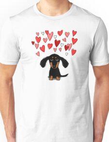 Cute Dachshund Puppy with Valentine Hearts Unisex T-Shirt