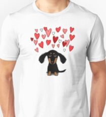 Cute Dachshund Puppy with Valentine Hearts Unisex T-Shirt