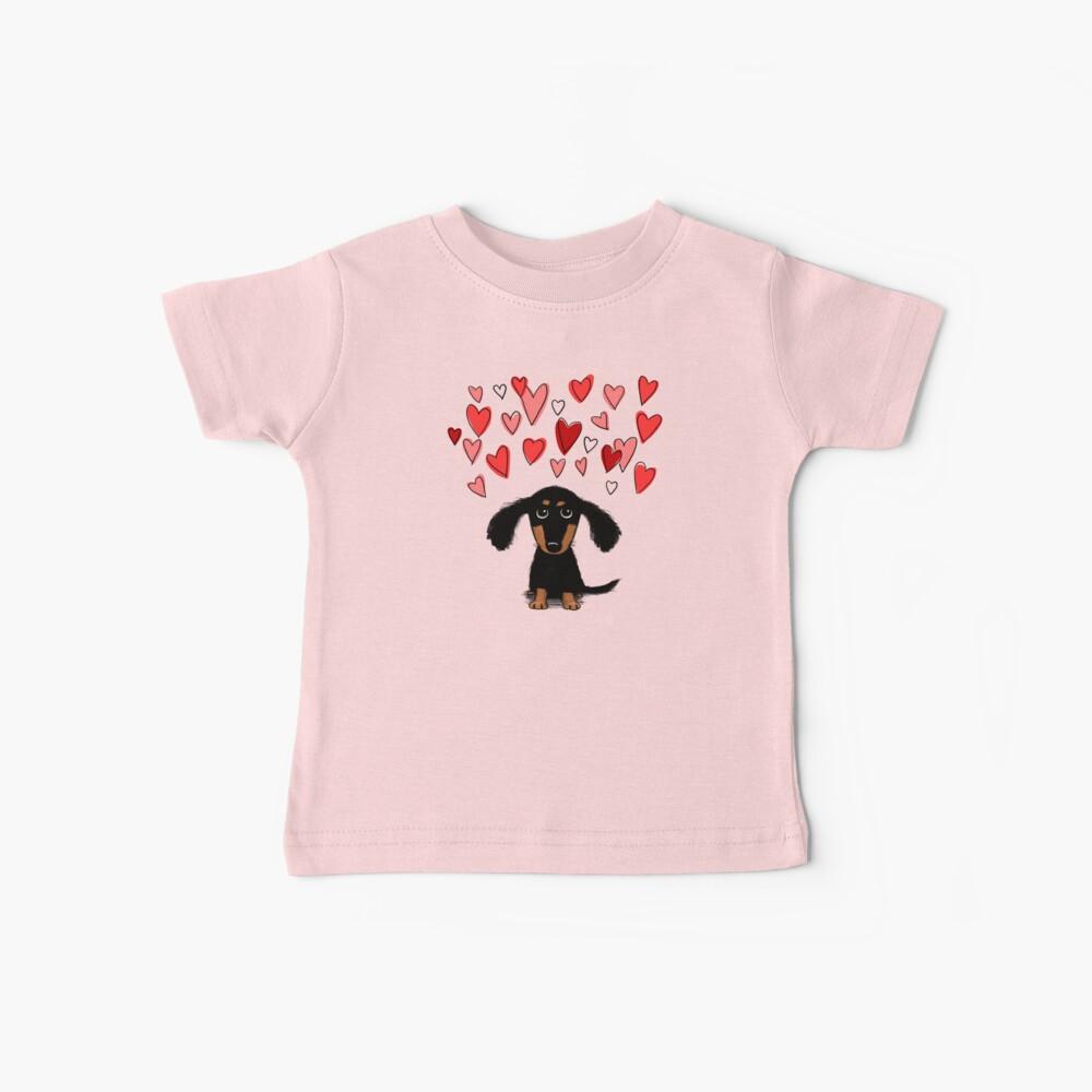 Cute Dachshund Puppy with Valentine Hearts Baby T-Shirt