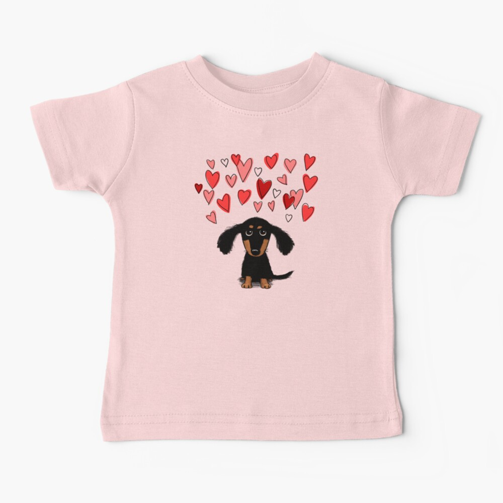 Cute Dachshund Puppy Dog with Valentine Hearts Baby T-Shirt