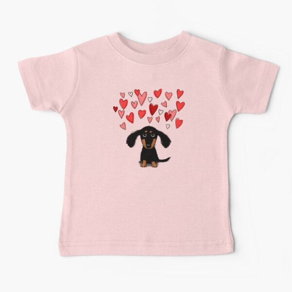Cute Dachshund Puppy Dog with Valentine Hearts Baby T-Shirt