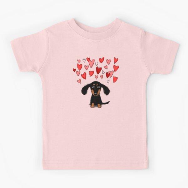 Cute Dachshund Puppy Dog with Valentine Hearts Kids T-Shirt