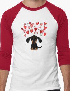 Cute Dachshund Puppy with Valentine Hearts Men's Baseball ¾ T-Shirt