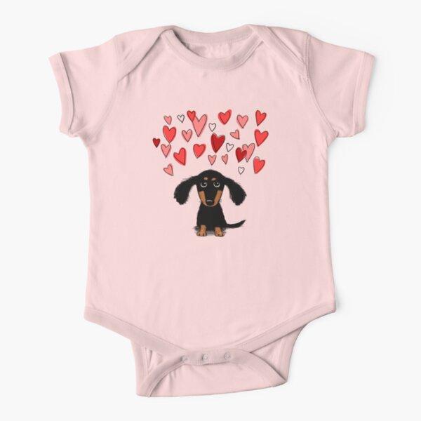 Cute Dachshund Puppy Dog with Valentine Hearts Short Sleeve Baby One-Piece