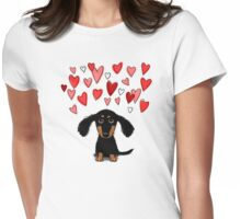 Cute Dachshund Puppy with Valentine Hearts Womens Fitted T-Shirt