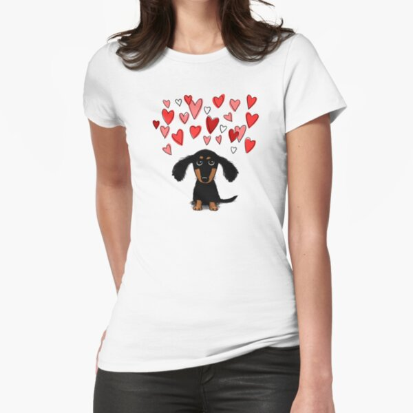 Cute Dachshund Puppy Dog with Valentine Hearts Fitted T-Shirt