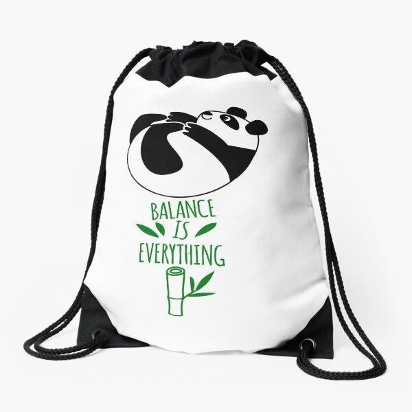 Balance Is Everything! Tumbling panda. Drawstring Bag