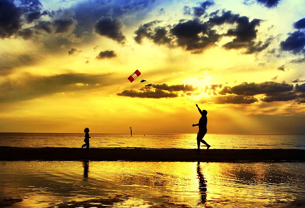 Kite Flying at Sunset by dale73