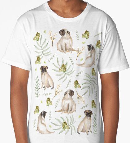 Pugs and butterflies. Brown pattern Long T-Shirt