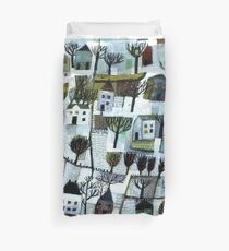 Walking to you. A winter scene. Duvet Cover