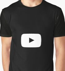White Play Button w/ Black Background Graphic T-Shirt