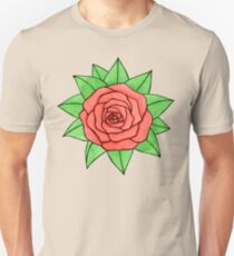 Watercolor pink rose with leaves  Unisex T-Shirt