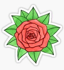 Watercolor pink rose with leaves  Sticker