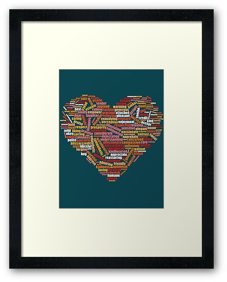 Love and help yourself, self compassion and care, 100 hundred kind words cloud in heart shape by Mike Suszycki