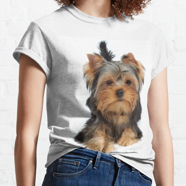 Cute puppy of the Yorkshire Terrier on white background Classic T-Shirt