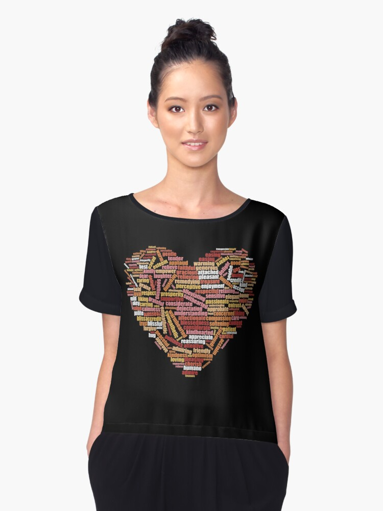Love and help yourself, self compassion and care, 100 hundred kind words cloud in heart shape Women's Chiffon Top Front