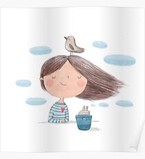 Cute cartoon little girl with bird and ship  illustration Poster