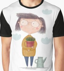 Girl with a flower in the garden. Spring in the Garden Graphic T-Shirt