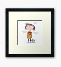 Girl with a flower in the garden. Spring in the Garden Framed Print