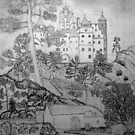 My pencil drawing of Bran Castle (Dracula) Romania by Dennis Melling