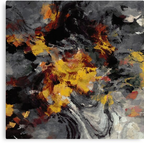 Yellow / Golden Abstract / Surrealist Landscape Painting by A Deniz Akerman